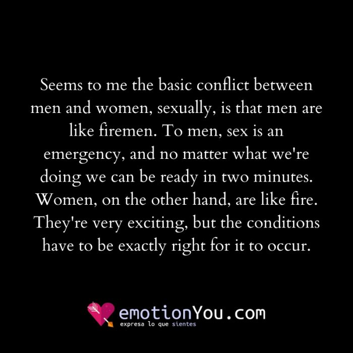 Seems to me the basic conflict between men and women